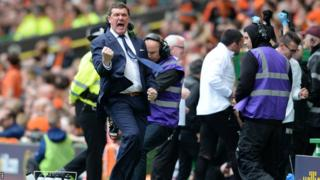 St Johnstone manager Tommy Wright celebrating