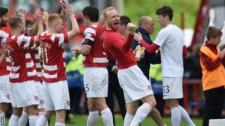 Hamilton players celebrate at full time