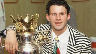 Manchester United's Ryan Giggs with the Premier League trophy