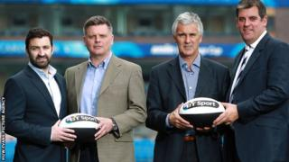 The chief executives of the four Welsh rugby regions at the launch of their sponsorship by BT Sport - left to right Andrew Hore (Ospreys), Mark Davies (Scarlets), Gareth Davies (Newport Gwent Dragons) and Richard Holland (Cardiff Blues)