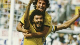 Zico and Socrates celebrate Brazil scoring against Italy at World Cup 1982.