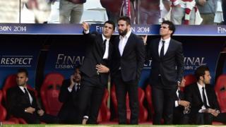 Real Madrid's Alvaro Morata, Daniel Carvajal and Pepe before the Champions League final