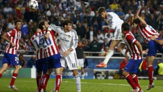 Sergio Ramos heads an equaliser for Real Madrid in added on time in the second half