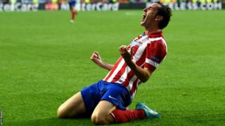 Diego Godin celebrates after scoring the first goal of the Champions League final 2014