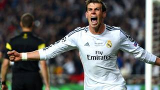 Gareth Bale celebrates after giving Real Madrid lead for the first time in the second half of injury time