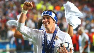 Gareth Bale celebrates after Real Madrid win the 2014 Champions League final