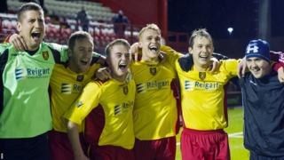 Albion Rovers players celebrating