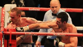 The end came in the ninth round when Carl Froch connected with a devastating right hand which sent George Groves tumbling to the canvas