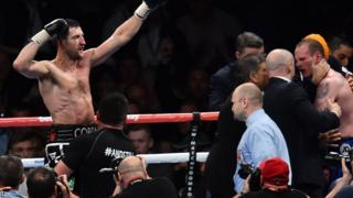 Carl Froch, after successfully defending his two world titles, was lifted aloft by his delighted team while doctors rushed to check a dazzled and dazed George Groves was OK