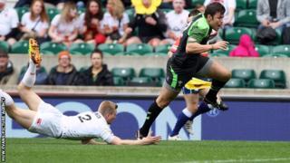 Adam Thomas scores for Wales Sevens against England