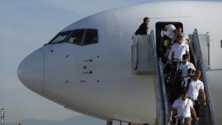 England arrive in Brazil