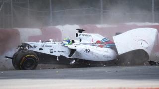 Williams driver Felipe Massa suffers a huge crash on the final lap of the Canadian Grand Prix