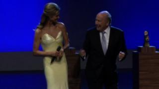 Fifa president Sepp Blatter and presenter Fernanda Lima