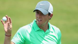 Rory McIlroy in action in US Open practice on Tuesday