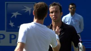 Andy Murray congratulates opponent Radek Stepanek