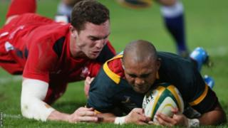 South Africa's Bryan Habana touches down for one of two tries against Wales.