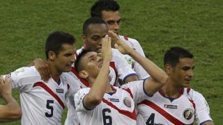 Oscar Duarte celebrates heading Costa Rica into the lead