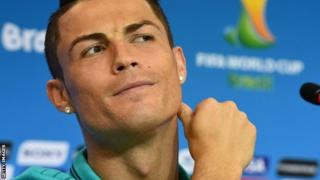 Cristiano Ronaldo speaking at a news conference