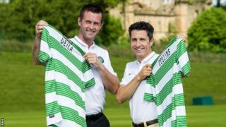 Celtic manager Ronny Deila (left) and assistant John Collins