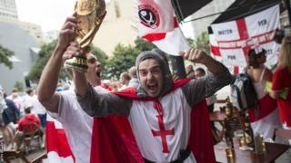 England fans ahead of the World Cup Group D game with Uruguay in Sao Paulo