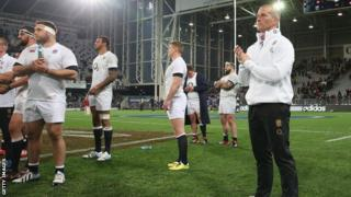 Stuart Lancaster with the England squad