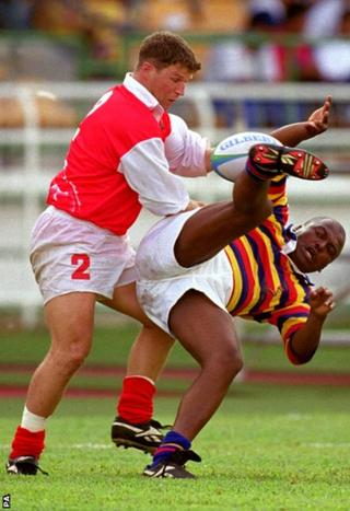 Kuala Lumpur 1998: Scott Gibbs in action for Wales as Rugby Sevens made its Games debut