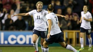 England's Toni Duggan, left celebrates with teammate Ellen White after scoring against Wales in the World Cup qualifier in October