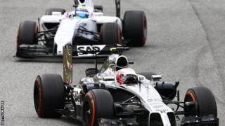 McLaren's Kevin Magnussen leads Felipe Massa of Williams at the 2014 Spanish Grand Prix