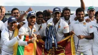 Sri Lanka celebrate winning the Test series