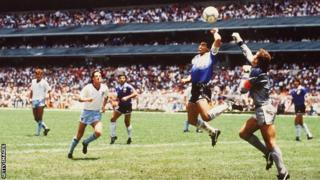 Maradona handles the ball as Argentina beat England in the 1986 World Cup quarter-finals