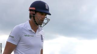 England captain Alastair Cook leaves the field after losing his wicket against Sri Lanka