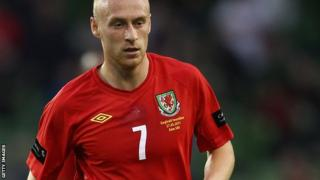 Cotterill playing for Wales.