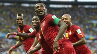 Ghana players at the World Cup in Brazil