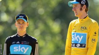 Chris Froome and Sir Bradley Wiggins of Team Sky.