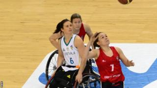 Helen Freeman challenges for the ball