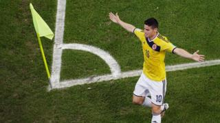 Colombia's James Rodriguez scores a stunning volley