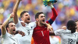 France celebrate after beating Nigeria 2-0