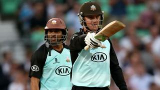 Jason Roy and Tillakaratne Dilshan put on 118 for the first wicket in Surrey's win over Kent at The Oval