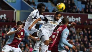 Wilfried Bony and Ashley Williams in action for Swansea