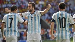 Angel Di Maria, Gonzalo Higuain and Lionel Messi