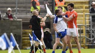 Monaghan's Dermot Malone and Aaron Findon of Armagh clash during the Ulster semi-final at St Tiernach's Park