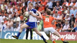 Kieran Toner and Paudie McKenna in action in front of more than 23,000 spectators at Clones