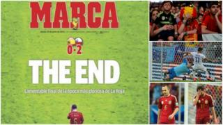 A front page from Marca as Spain crash out of World Cup 2014