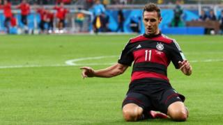 Germany's Miroslav Klose celebrates his record 16th World Cup goal