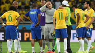 Brazil players are in shock after the Germany defeat