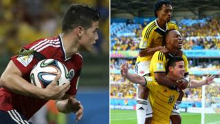 A large insect lands on the arm of Colombia's James Rodriguez as he runs back with the ball after scoring his side's first goal during the World Cup quarter-final soccer match between Brazil and Colombia