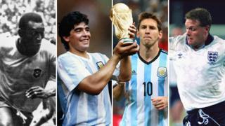Pele, Diego Maradona, Lionel Messi and Paul Gascoigne
