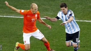 Arjen Robben and Lionel Messi