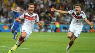 Mario Gotze celebrates after scoring for Germany
