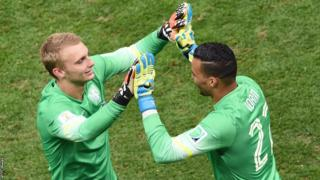 Swansea City and Netherlands goalkeeper Michel Vorm (right) makes his World Cup finals debut coming on for Jasper Cillessen against Brazil in the third place play-off